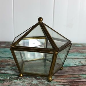 Vintage Pentagon Brass Glass Footed Trinket Box